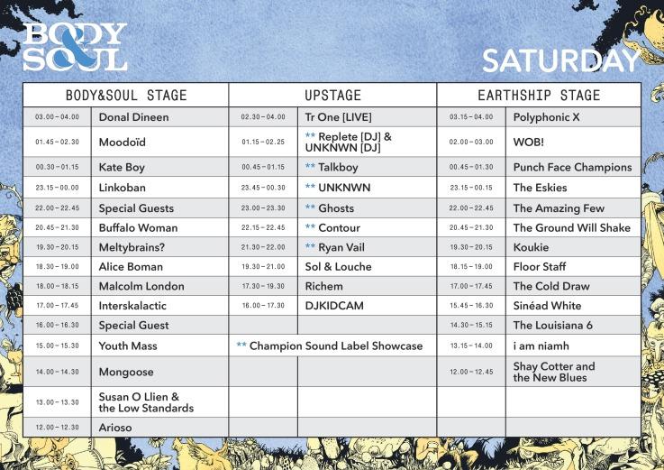 Body & Soul Saturday timetable
