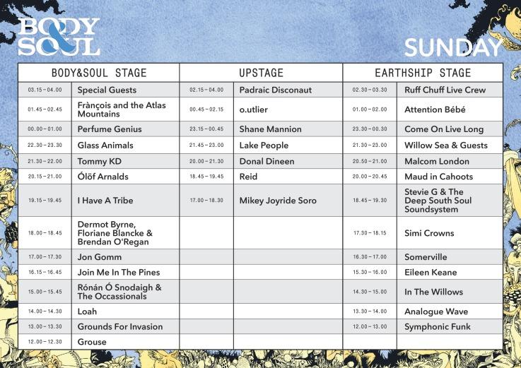 Body & Soul Sunday timetable