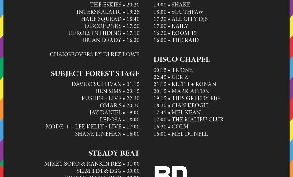 BD Festival 2015 timetable