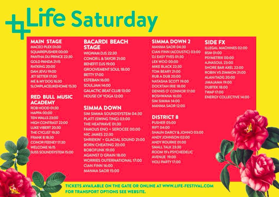 Life Festival 2015 - Saturday timetable