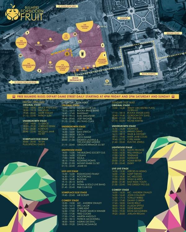 Forbidden Fruit 2015 map & timetable