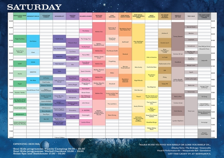 Body & Soul 2015 - Saturday timetable