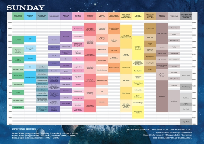 Body & Soul 2015 - Sunday timetable