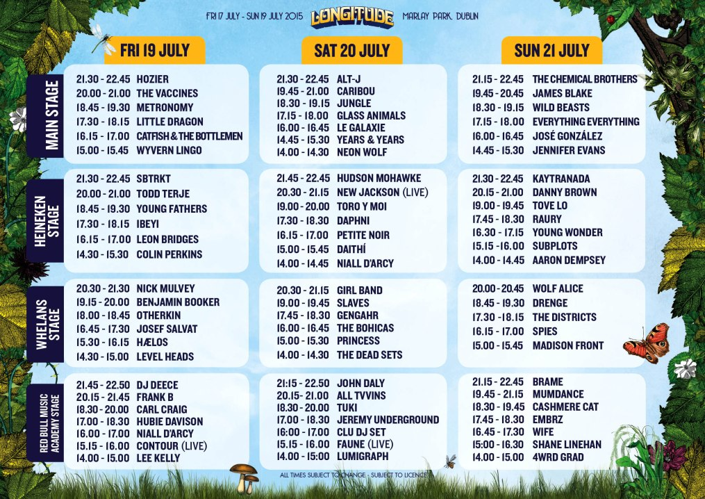 Longitude 2015 timetable & running order