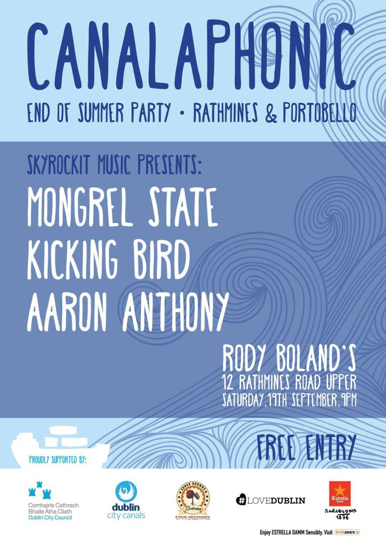 Poster for Mongrel State and more at Rody Boland's for Canalaphonic's End of Summer Party