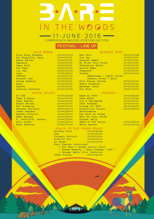 BARE in the Woods 2016 stage times