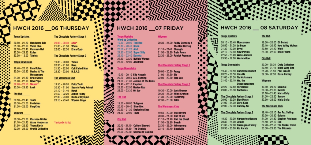 Hard Working Class Heroes 2016 - HWCH 2016 STAGE TIMES