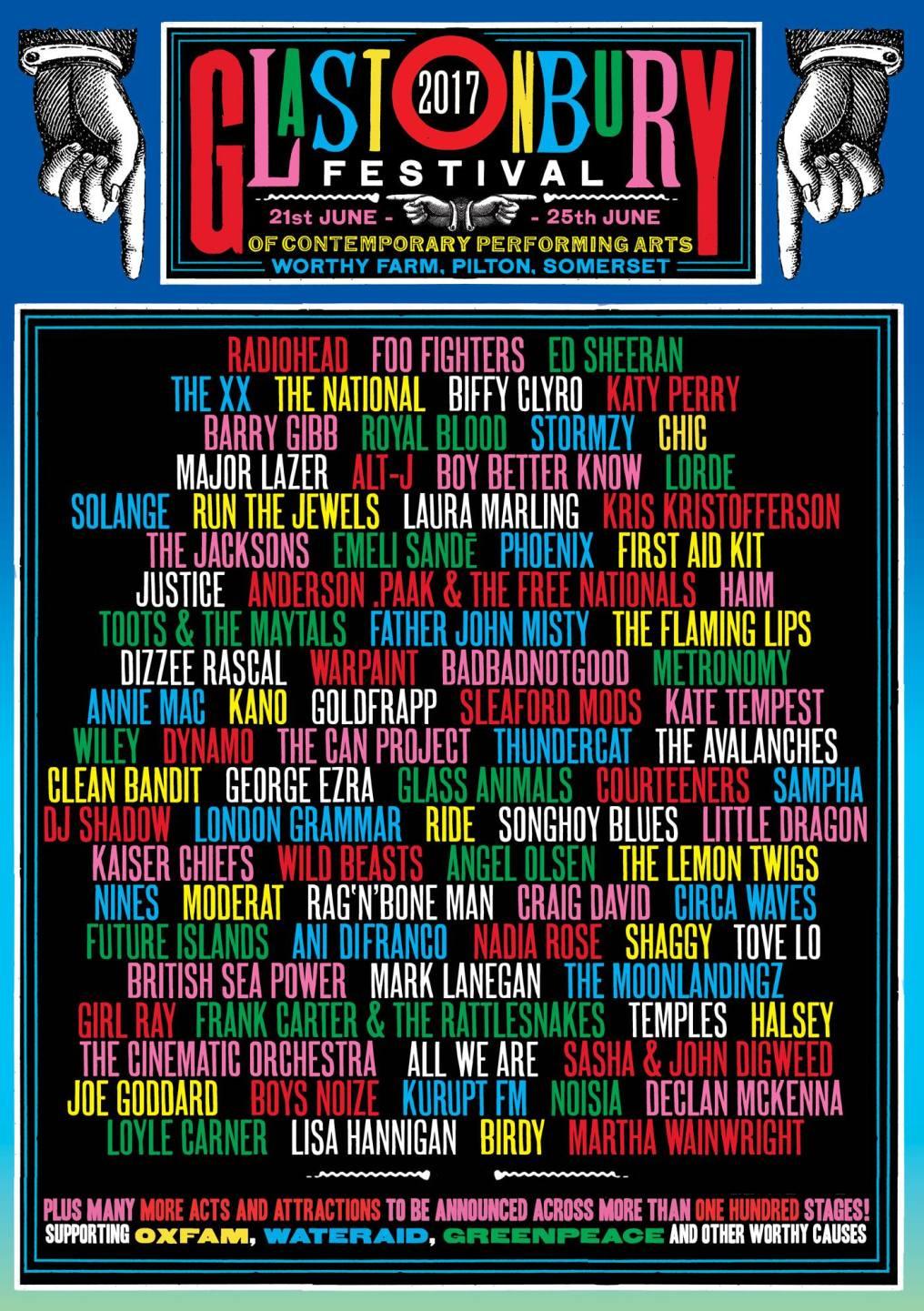 Glastonbury 2017 line-up poster