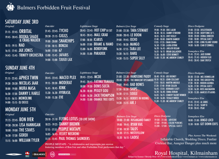 Forbidden Fruit 2017 stage times