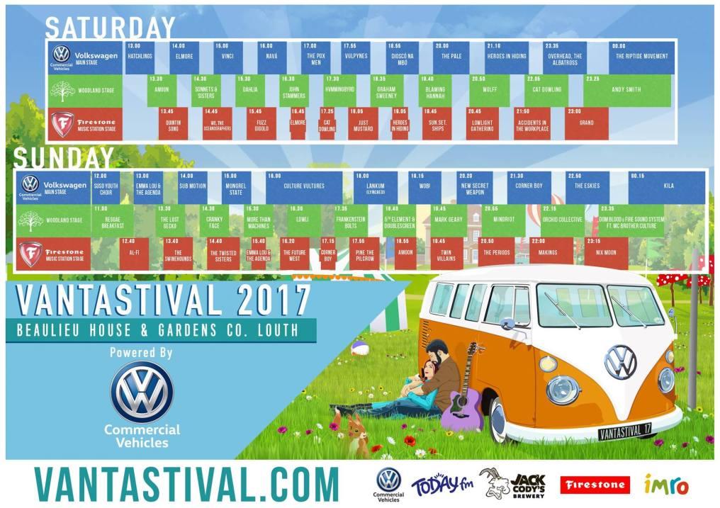 Vantastival 2017 stage times