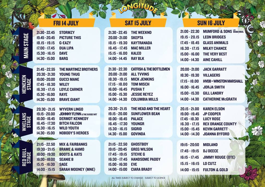 Longitude 2017 stage times