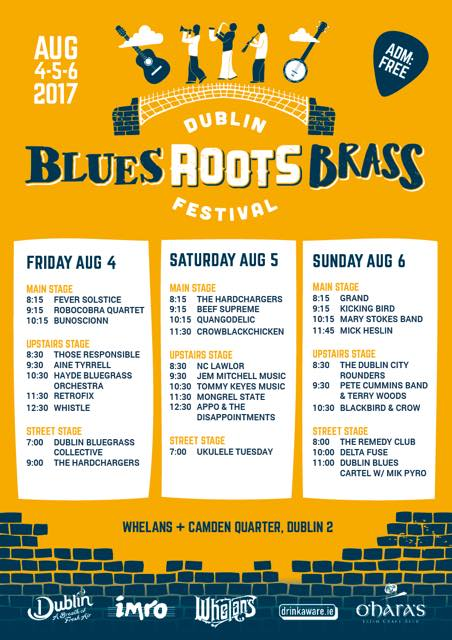 Dublin Blues Roots and Brass Festival 2017 timetable