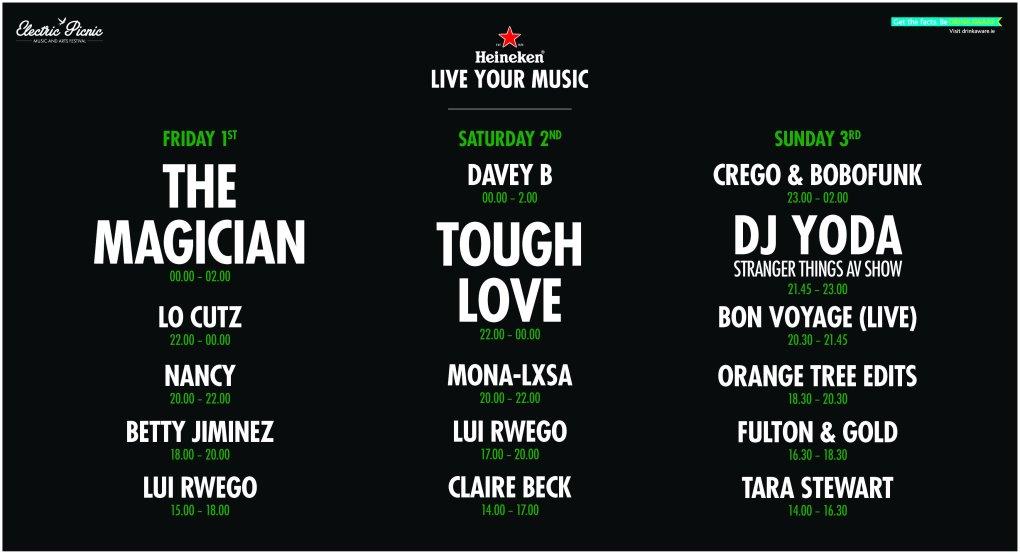 Heineken Stage Times
