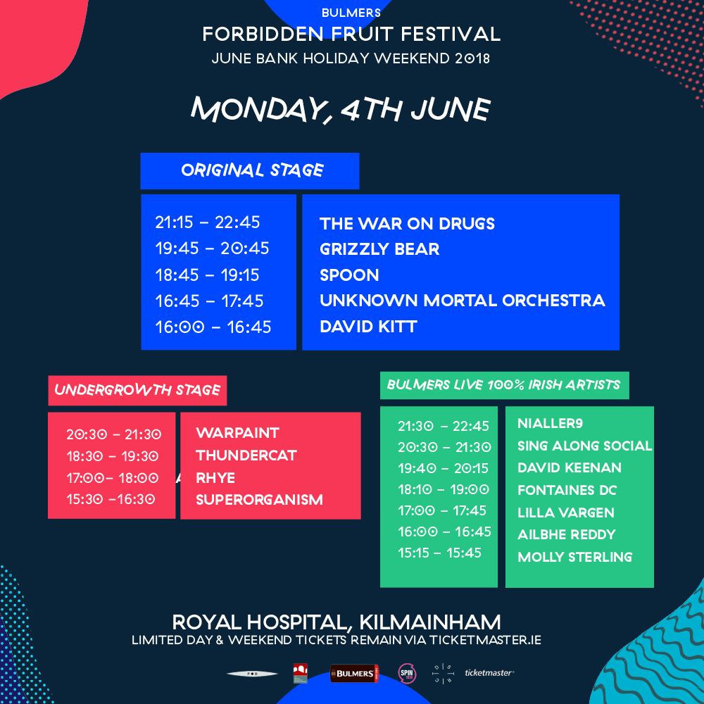 Forbidden Fruit 2018 Stage Times announced