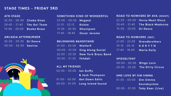 FRIDAY - STAGE TIMES
