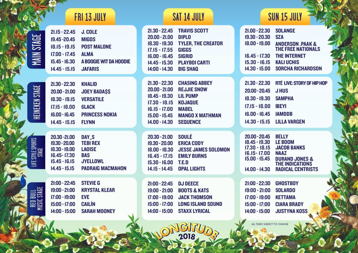Longitude 2018 stage times announced