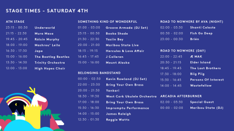 SAT - STAGE TIMES 1