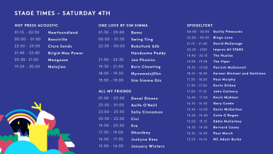 SAT - STAGE TIMES 2
