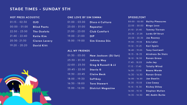 SUN - STAGE TIMES 2