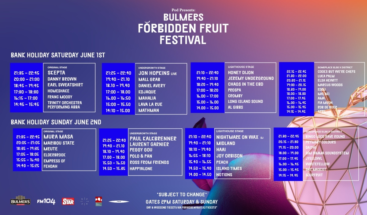 Forbidden Fruit 2019 Stage Times announced & several new acts added
