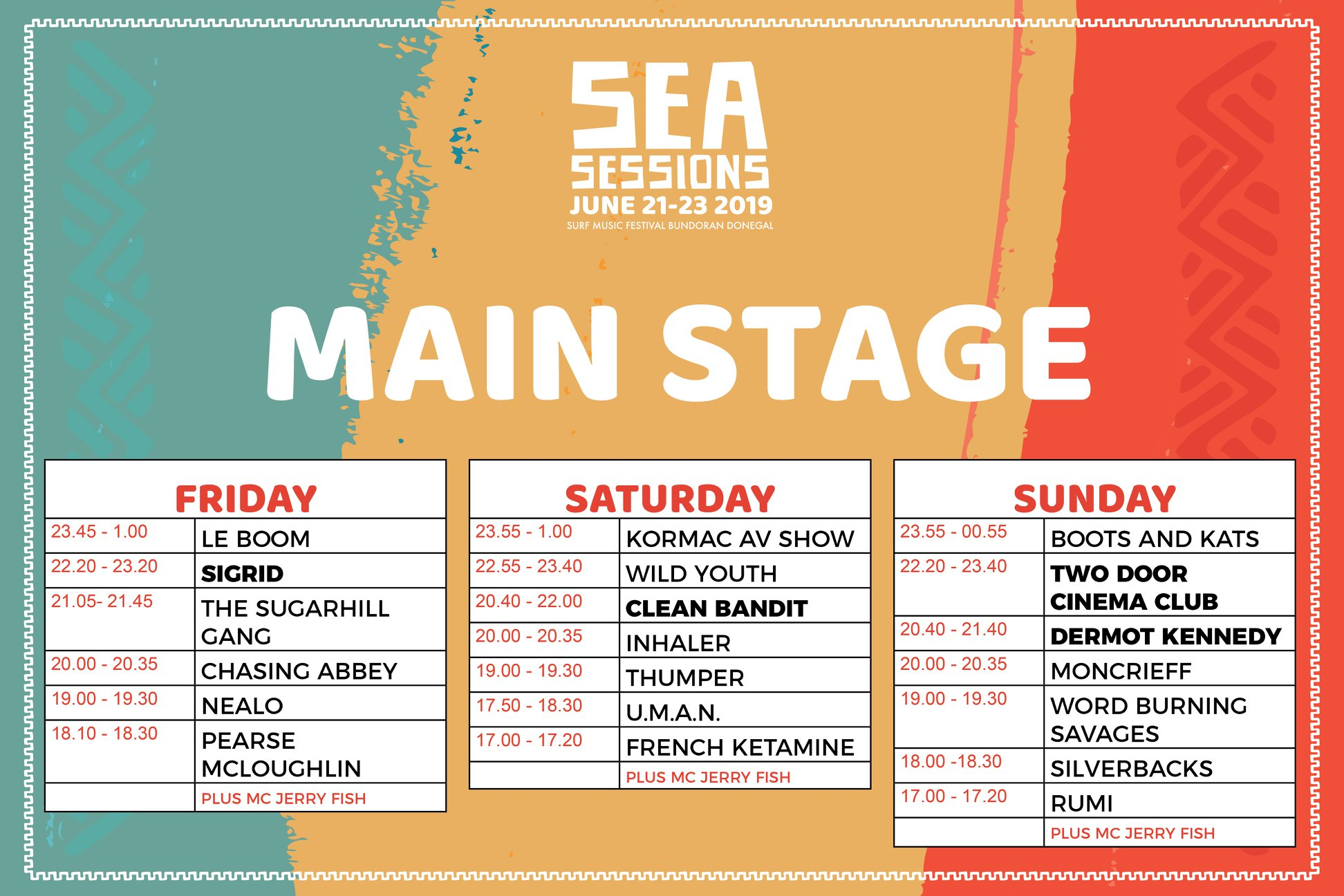 Sea Sessions 2019 Stage Times announced